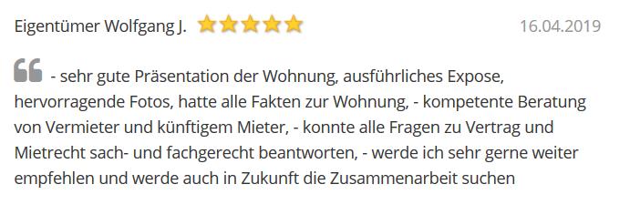 Referenz Herr Johann zur Vermietung von Röhricht Immobilien