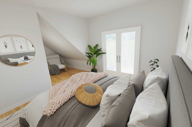visualisiertes Schlafzimmer mit Ankleide - Virtual Home Staging